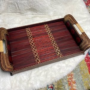 Wooden Hand Painted Serving Tray Handled Boho